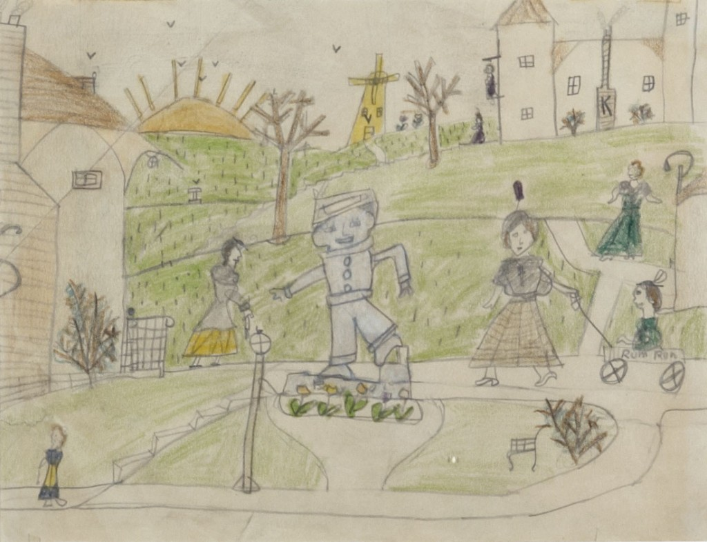 Hero, childhood drawing, 8 ½ x 10 ¼ in. (21 x 26 cm.), ca. 1936. Artist's Collection.